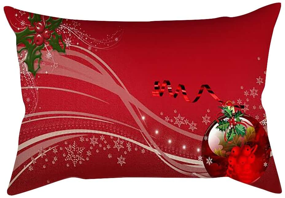 11.8x19 Inches Throw Pillow Covers Christmas Decorative Couch Pillow Cases Cotton Linen Pillow Oblong Cushion Cover for Sofa, Couch, Bed