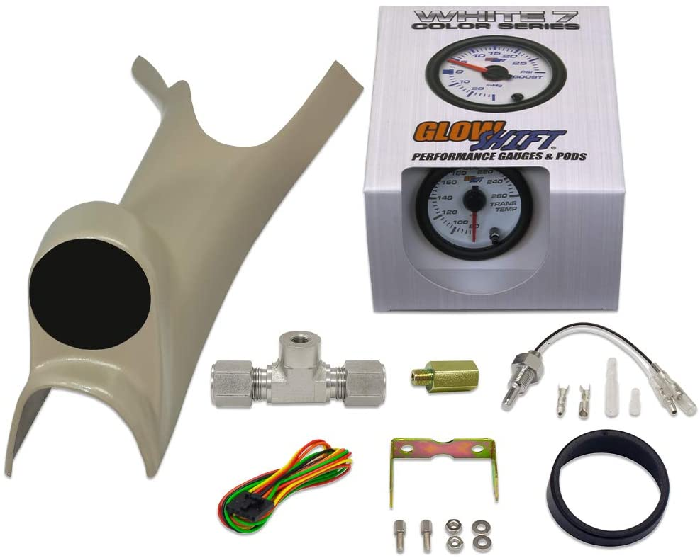GlowShift Gauge Diesel Gauge Package for 2003-2009 Dodge Ram 24-Valve Cummins 2500 3500 - White 7 Color Transmission Temperature Gauge - Factory Matched Taupe Single Gauge Pillar Pod
