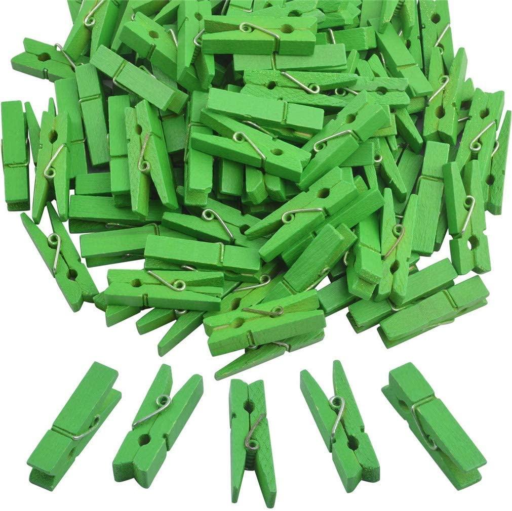 Ulalaza 100Pcs Mini Clothes Pins Wooden Photo Clips Paper Peg DIY Craft Log Clip