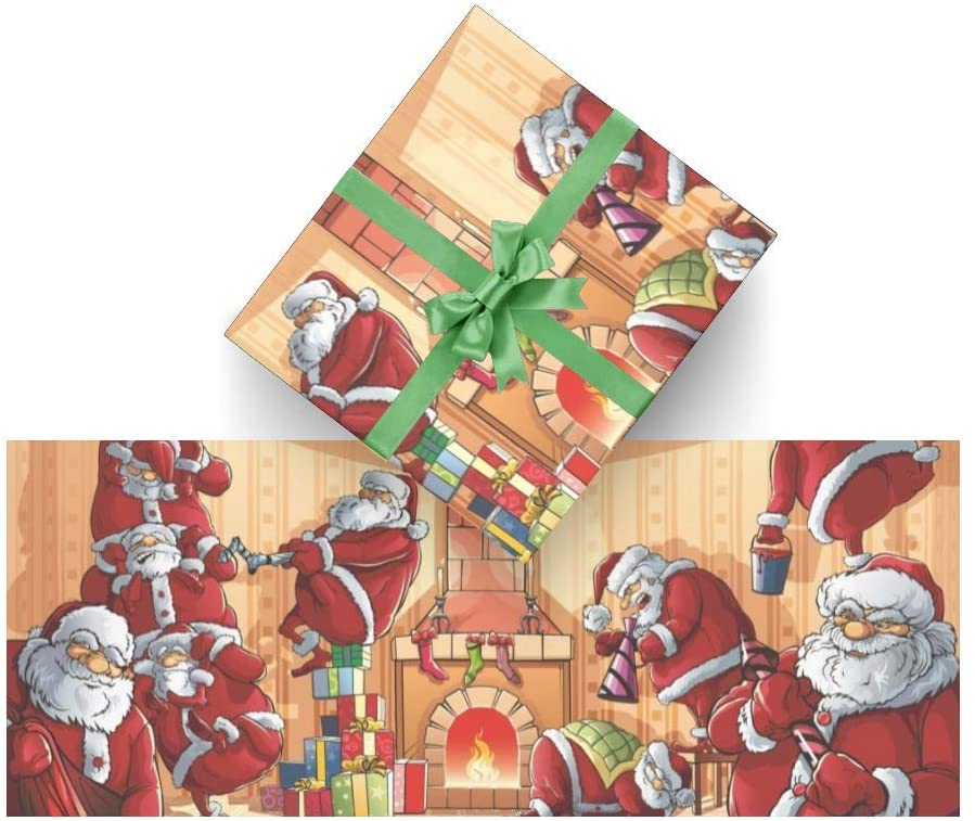 Wrapping Paper Christmas Santa Claus for Christmas,Birthday,Valentines Day,Bridal or Baby Showers Gift- 3Rolls - 58inch x 23inch Per Roll