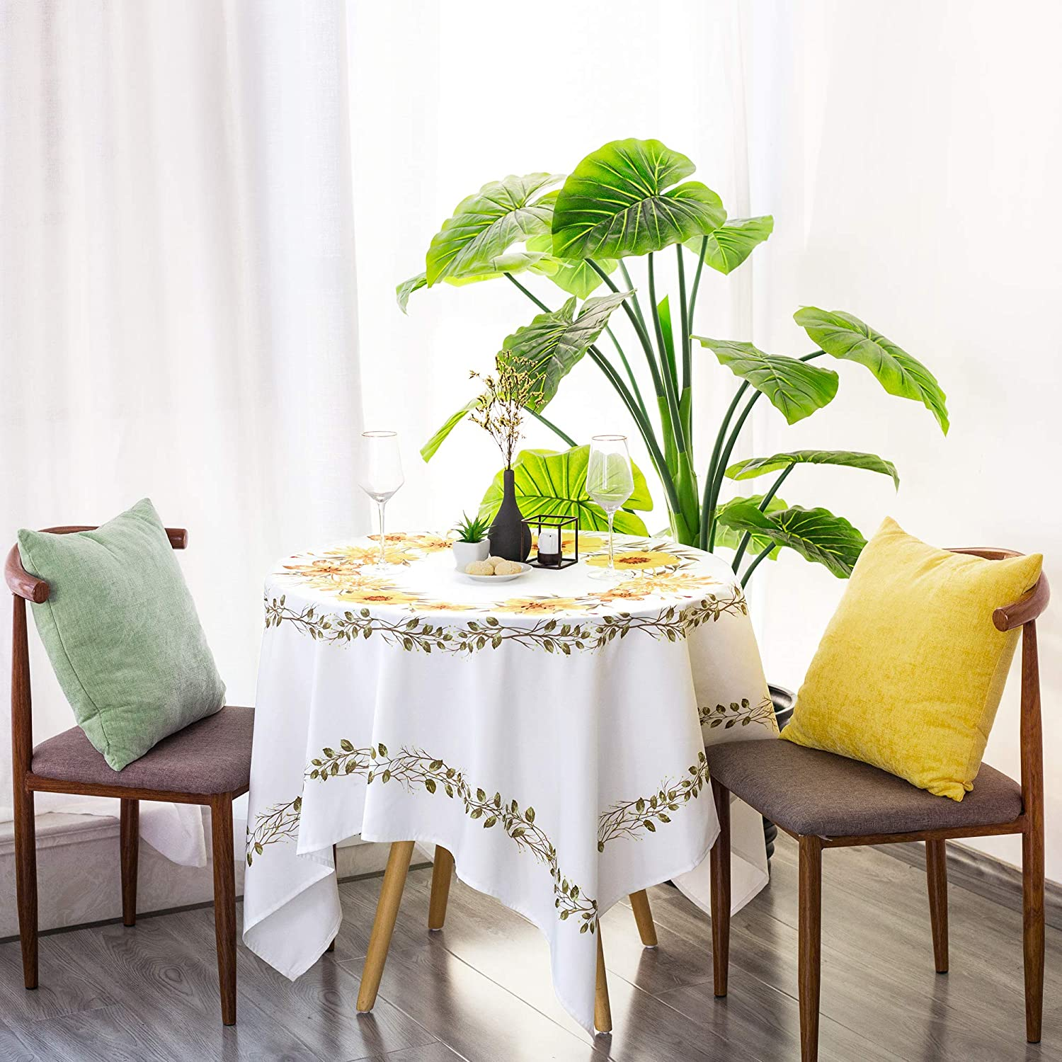 CaliTime Tablecloths 60 x 60 Inch Waterproof Stain Resistant Yellow Flower Print Modern Decorative Polyester Pongee Square Table Cover for Outdoor Picnic Kitchen Dining