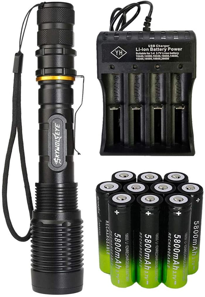 High 2000 Lumens 18650 Tactical LED Flashlight Torch with 10PCS 3.7v High Capacity Rechargeable Battery&1PCS 4 Slots Charger, Bright Adjustable Focus and 5 Modes for Camping Hiking