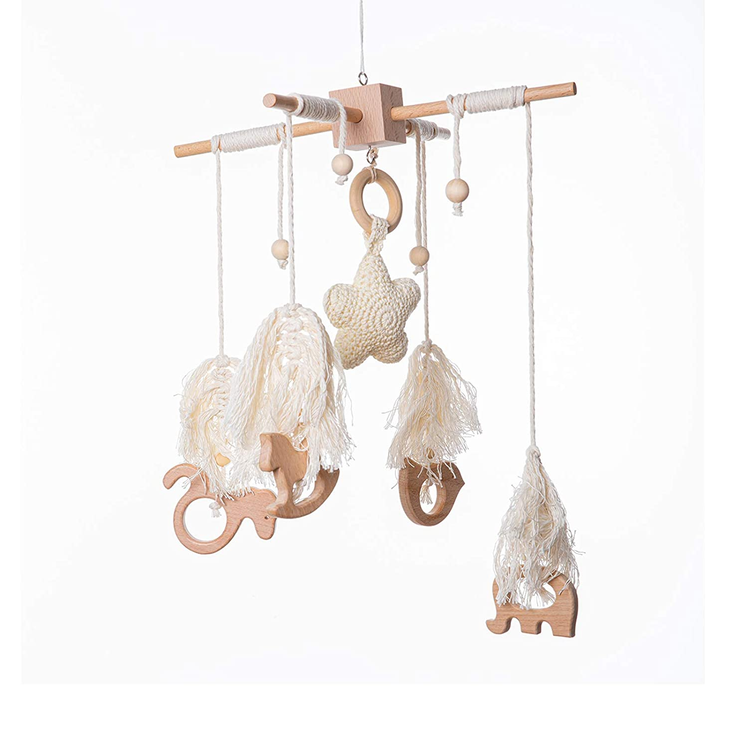 Wooden Baby Crib Mobile Bed Bell with Animals Pendant Nordic Style Handmade Woven Tassels Wind Chime Cot Bassinet Creative Hanging Toys Nursery Room Decor