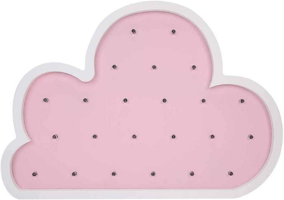 Garosa Wooden Night Light Pink Color Cloud Shaped Wall Hanging LED Nursery Lamp for Home Children Bedside Table Light