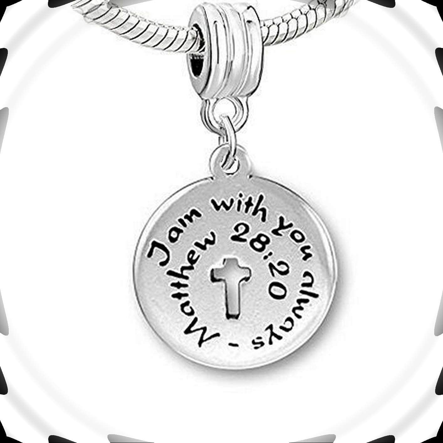 I Am with You Always Cross Religious Charm Bead Adorable Charms and More for Your own Designs by CharmingStuffS