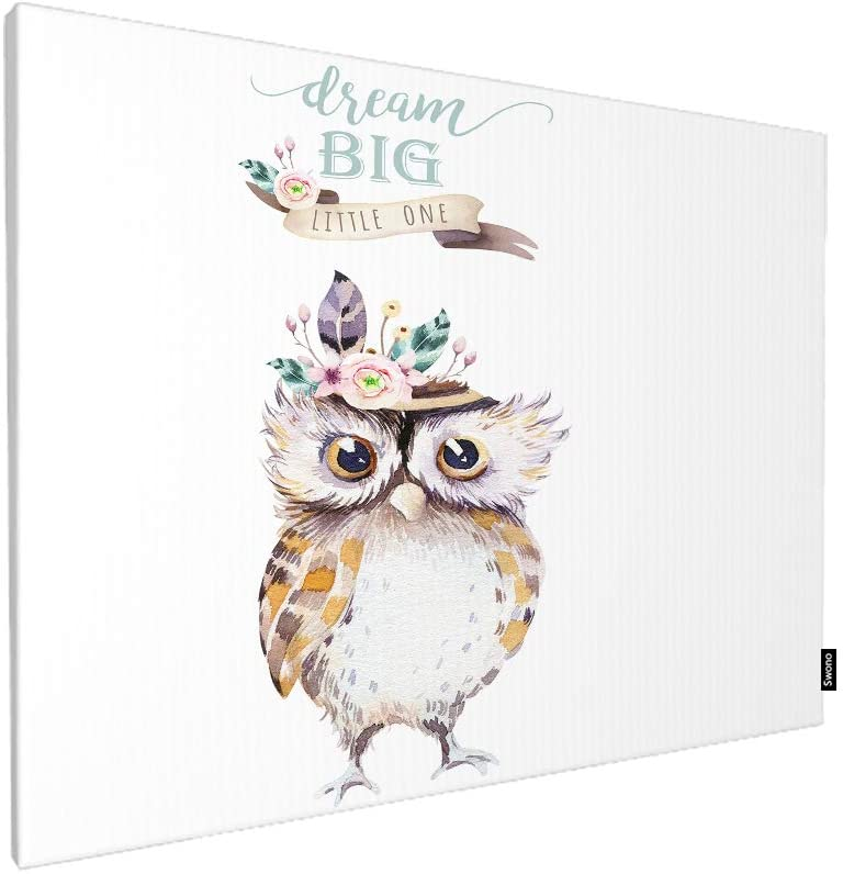 Swono Boho Owl Wall Art Canvas Painting,Watercolor Woodland Nursery Isolated Cute Bohemian Forest Animal Baby Owl Art Painting for Living Room Bedroom Decorations Wall Decor Gift 12