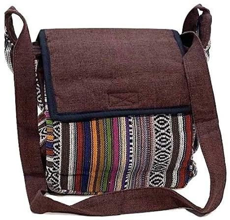 Unisex Tribal Design Brown Cotton Messenger Crossbody Shoulder Bag by Original Collections