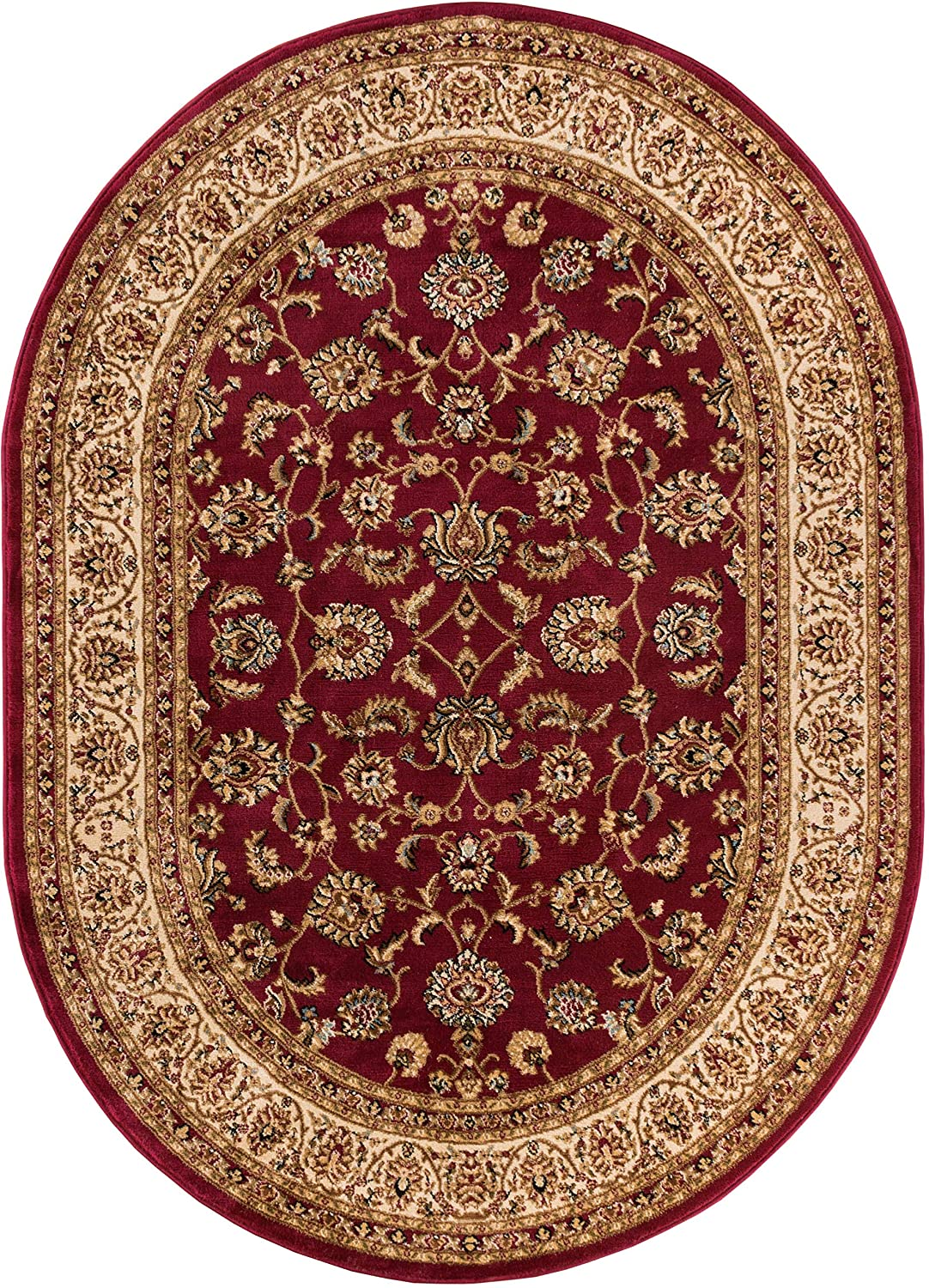 Noble Sarouk Red Persian Floral Oriental Formal Traditional Area Rug 5x7 ( 5'3