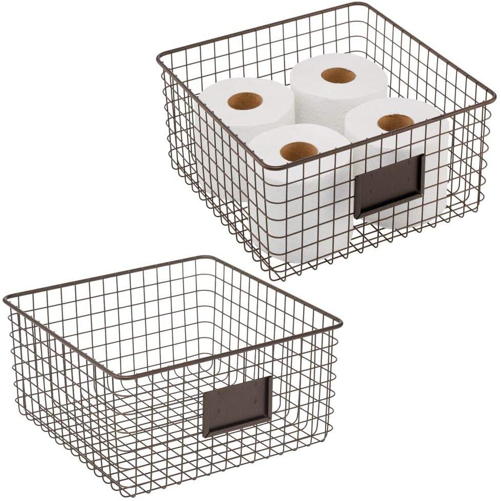mDesign Farmhouse Decor Metal Wire Bathroom Organizer Storage Bin Basket - for Cabinets, Shelves, Countertops, Bedroom, Kitchen, Laundry Room, Closet, Garage, 2 Pack - Bronze