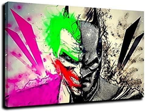 Batman Joker Canvas Wall Art Poster Print Home Decor Painting for Bedroom Living Room (14,8