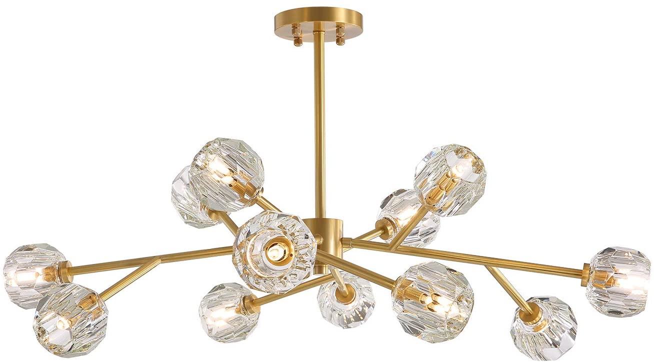 NOXARTE Modern Sputnik Chandelier Lighting Brass Pendant Lamp Crystal Globe Gold Ceiling Light Fixture 12 Lights for Dining Room Kitchen
