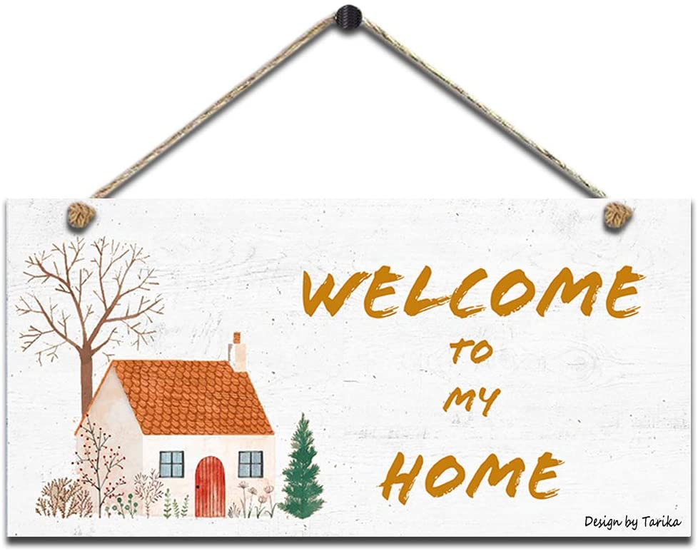Welcome to My Home Retro Wooden Public Decorative Hanging Sign for Home Door Fence Vintage Wall Plaques Decoration(5x10Inches)
