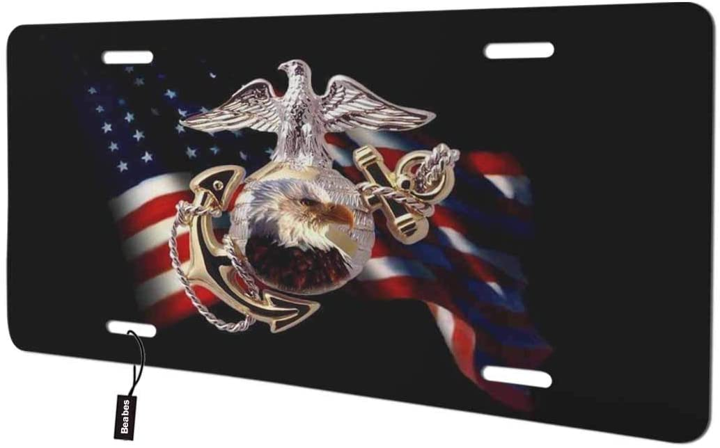 Beabes Cool USMC Marine Corps Front License Plate Cover,American Flag Bald Eagle Arrow Military Tattoo Decorative License Plates for Car,Aluminum Novelty Auto Car Tag Vanity Plates Gift 6x12 Inch
