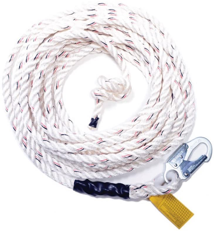Guardian Fall Protection 11335 VL58-200 Standard 5/8 Inch Thick 3 Strand White Polydac Rope with Snaphook End, 200-Foot
