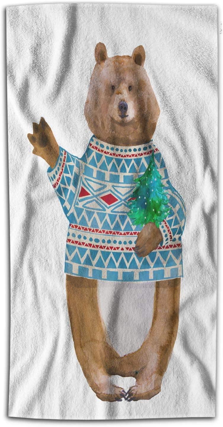 Moslion Brown Bear Bath Towels Cartoon Cute Animal Blue Cloth Holding Christmas Tree Forest Wild Bath Hand Towel Decor Bath Towels Soft Polyester-Microfiber for Bathroom 64Lx32W Inch
