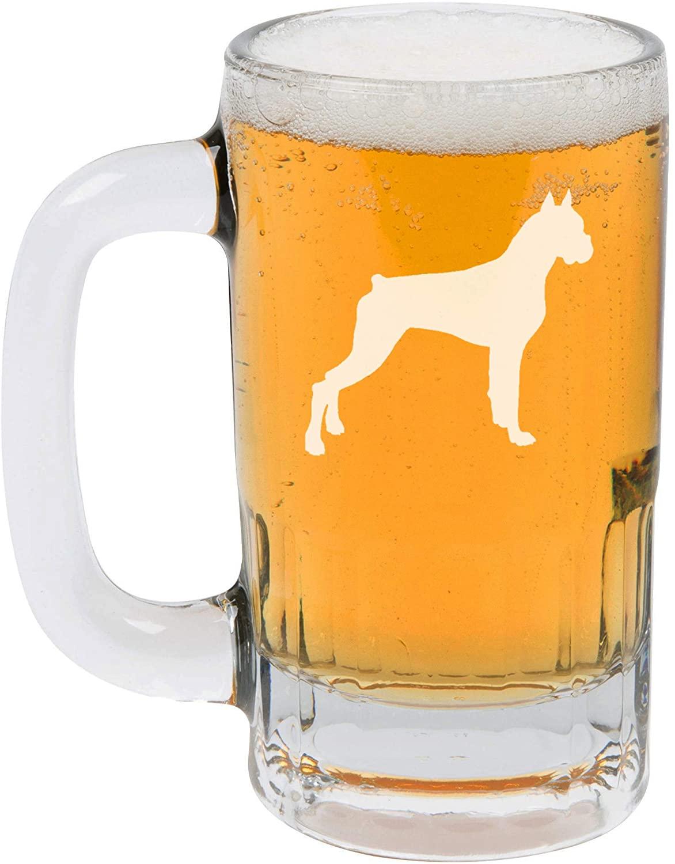 12oz Beer Mug Stein Glass Boxer Dog