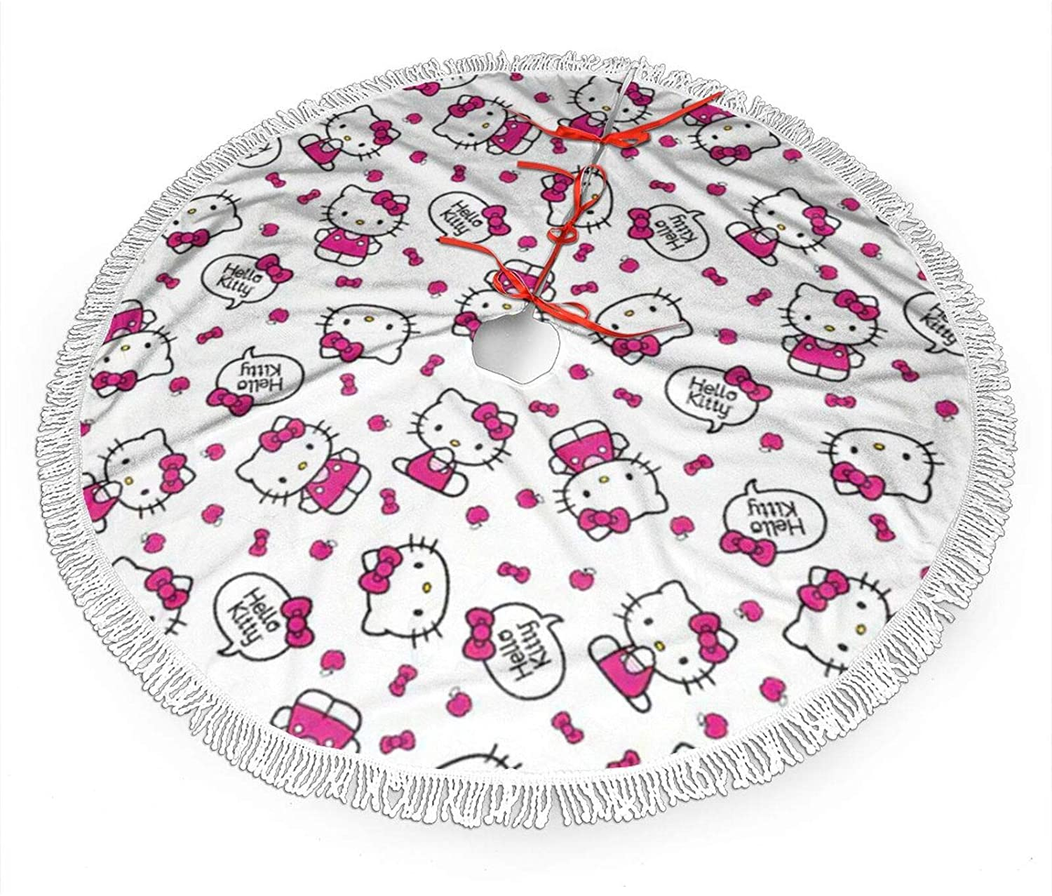 Nyf Hello Kitty Christmas Tree Skirt with Fringe Mat Xmastree Skirt for Party Holiday Decorations 36 Inch