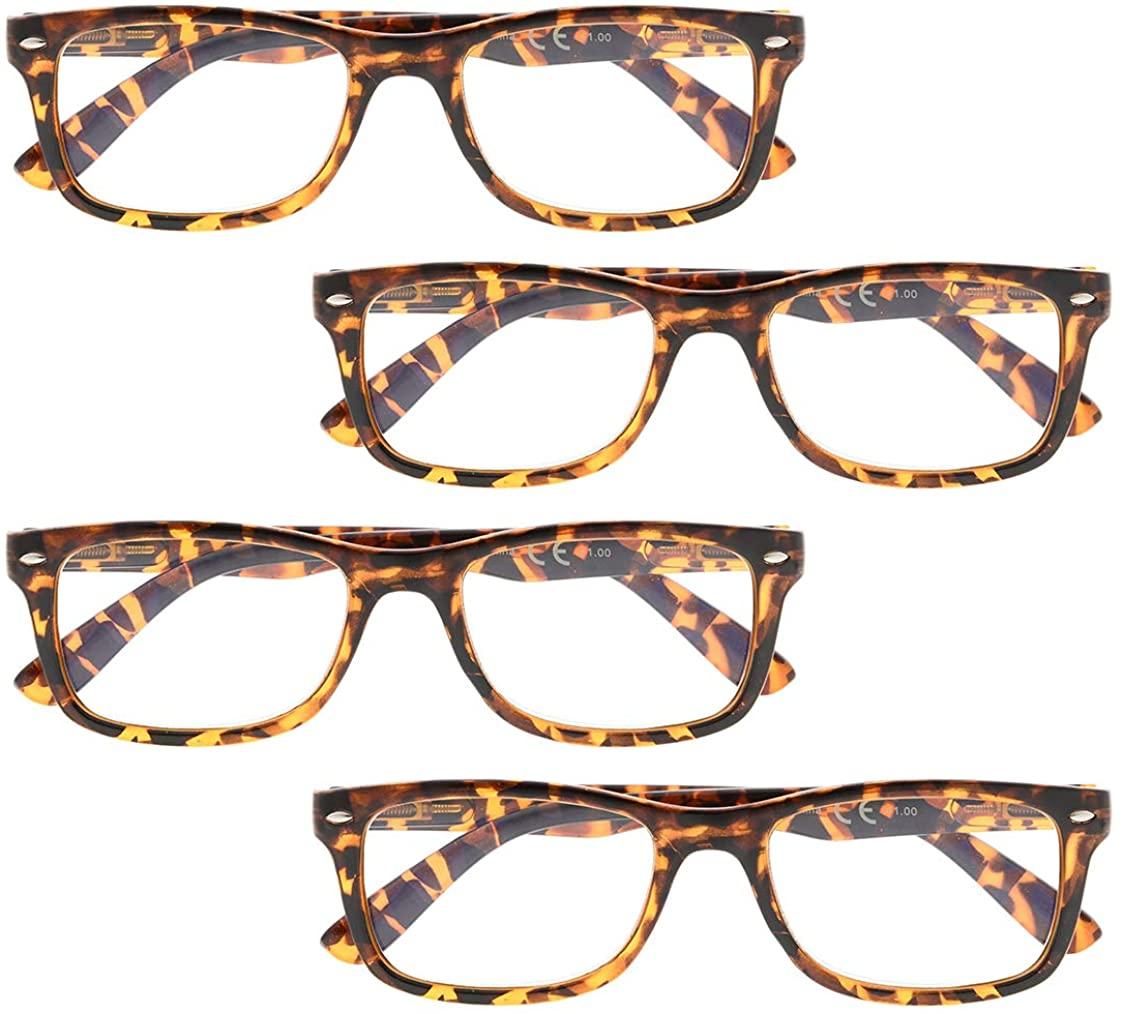 BFOCO Reading Glasses 4 Pack Spring Hinges Classic Reader Eyeglasses for Men and Women Reading
