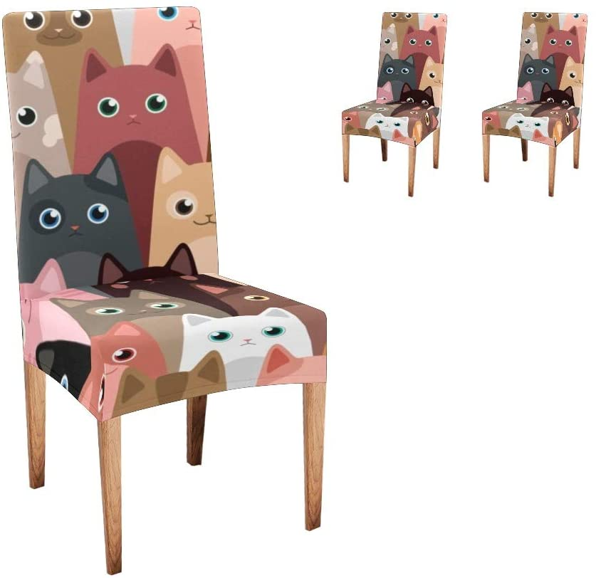 CUXWEOT Chair Covers for Dining Room,Custom Cat Cartoon Protector Seat Covers Slipcovers for Party Decor (Set of 2)