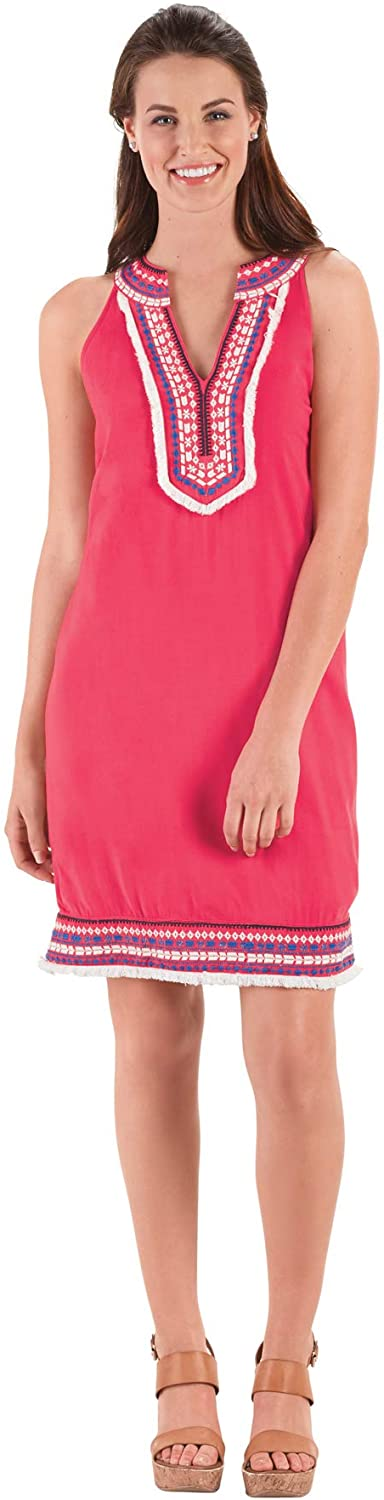 Mud Pie Womens James Collared Dress (Large, Watermelon), Pink