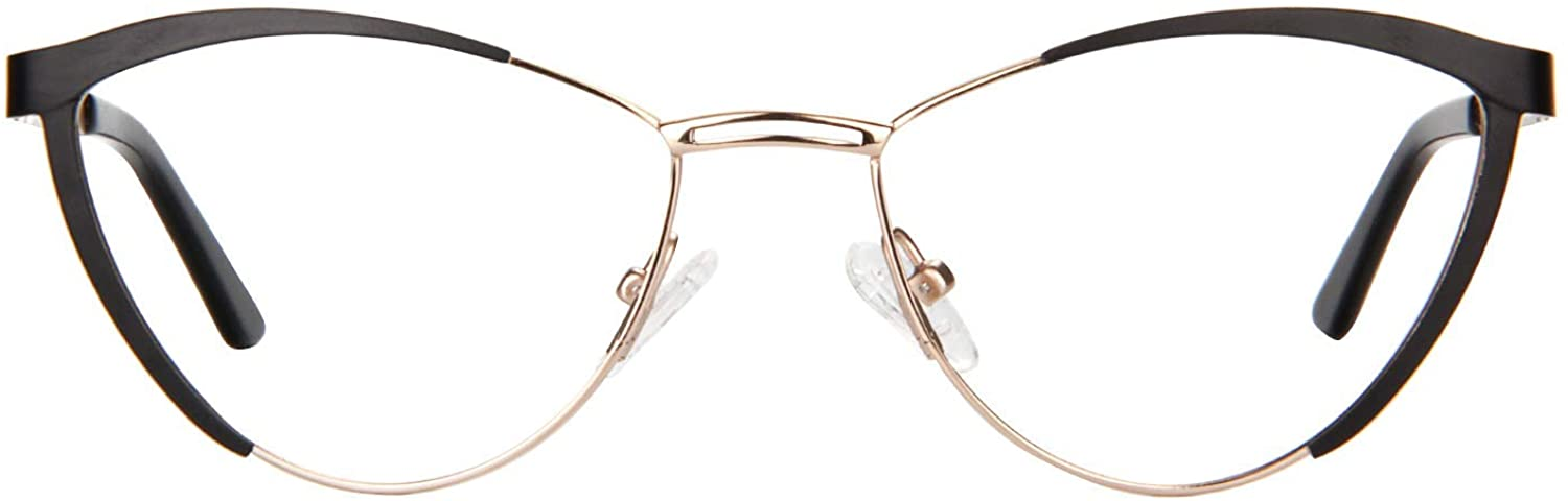 Zeelool Women's Metal Browline Cat Eye Glasses with Clear Lens Sydney FM0125