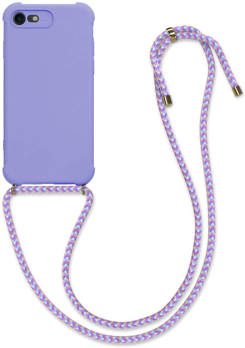 kwmobile Crossbody Case Compatible with Apple iPhone 7/8 / SE (2020) - Soft Matte TPU Phone Holder with Neck Strap - Lavender