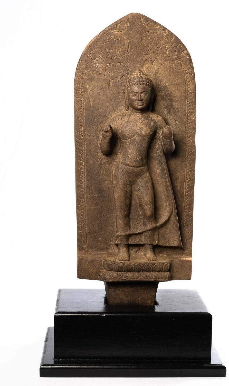 HD Asian Art Buddha Statue - Antique Stone Stele Dvaravati Style Thai Teaching Buddha Statue - 75cm/30