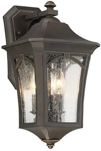 Minka Lavery Outdoor Wall Light 71212-143C Solida Exterior Wall Lantern, 3-Light 180 Watts, Oil Rubbed Bronze