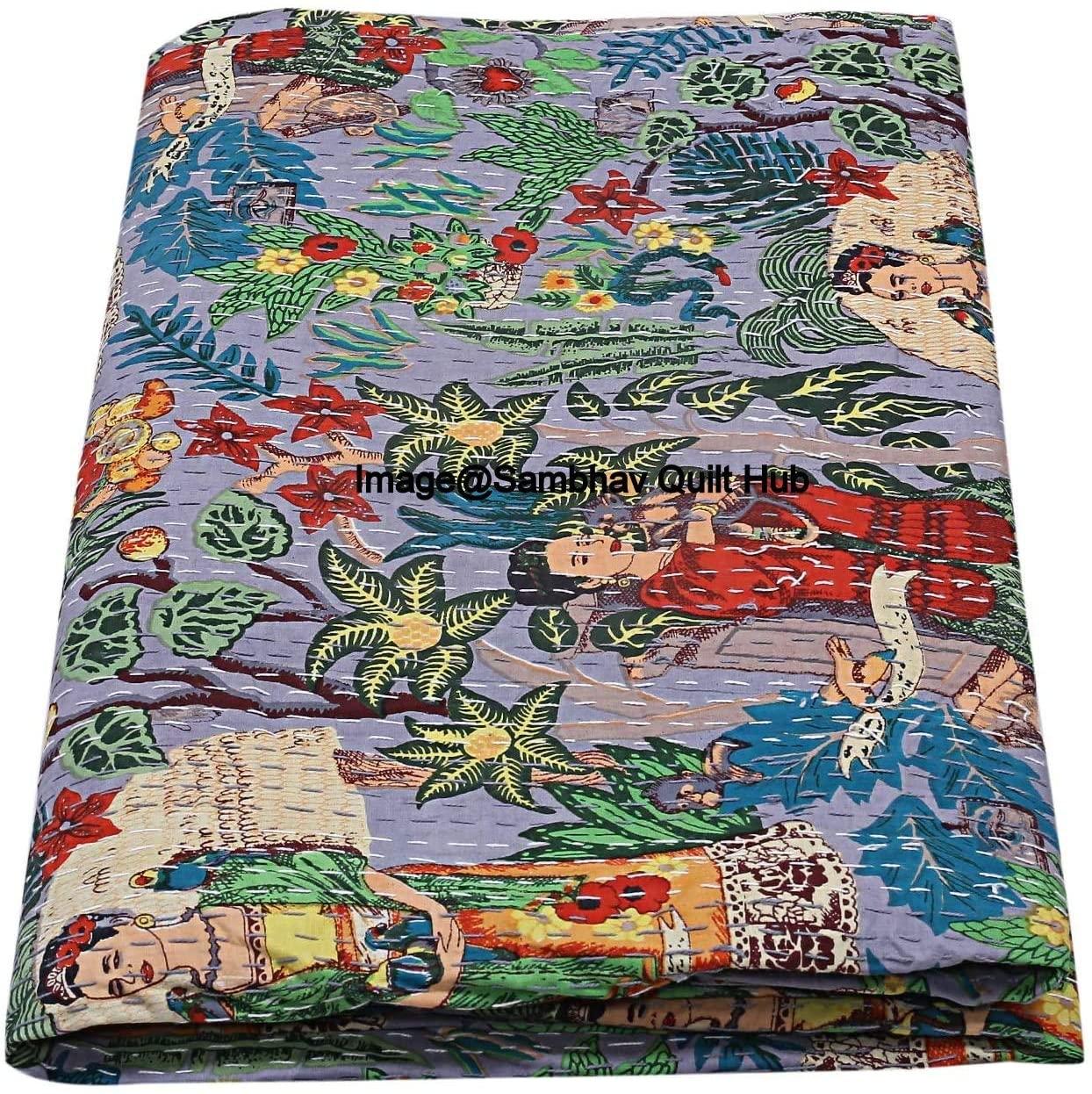 Sambhav Quilt Hub Handmade Quilted Blanket Indian Cotton Frida Khalo Print Bedspread Kantha Work Bohemian Bed Decor Throw Blanket Twin/King/Queen (60X90 inches)