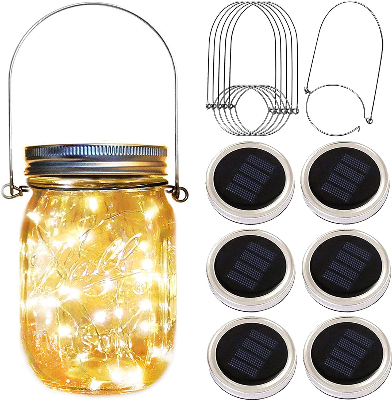 Solar Mason Jar Lid Lights,6 Pack 30 Led Fairy Firefly String Jar Lids Lights,6 Hangers Included(No Jars),Outdoor Solar Lantern for Patio Yard Garden Wedding Party Table Decor
