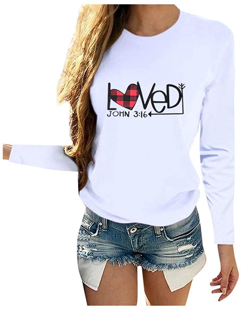 Long Sleeve Shirts for Women, Womens Heart-Shaped Crewneck Sweatshirt Casual Loose Fitting Fall Tops Blouse(S-3XL)