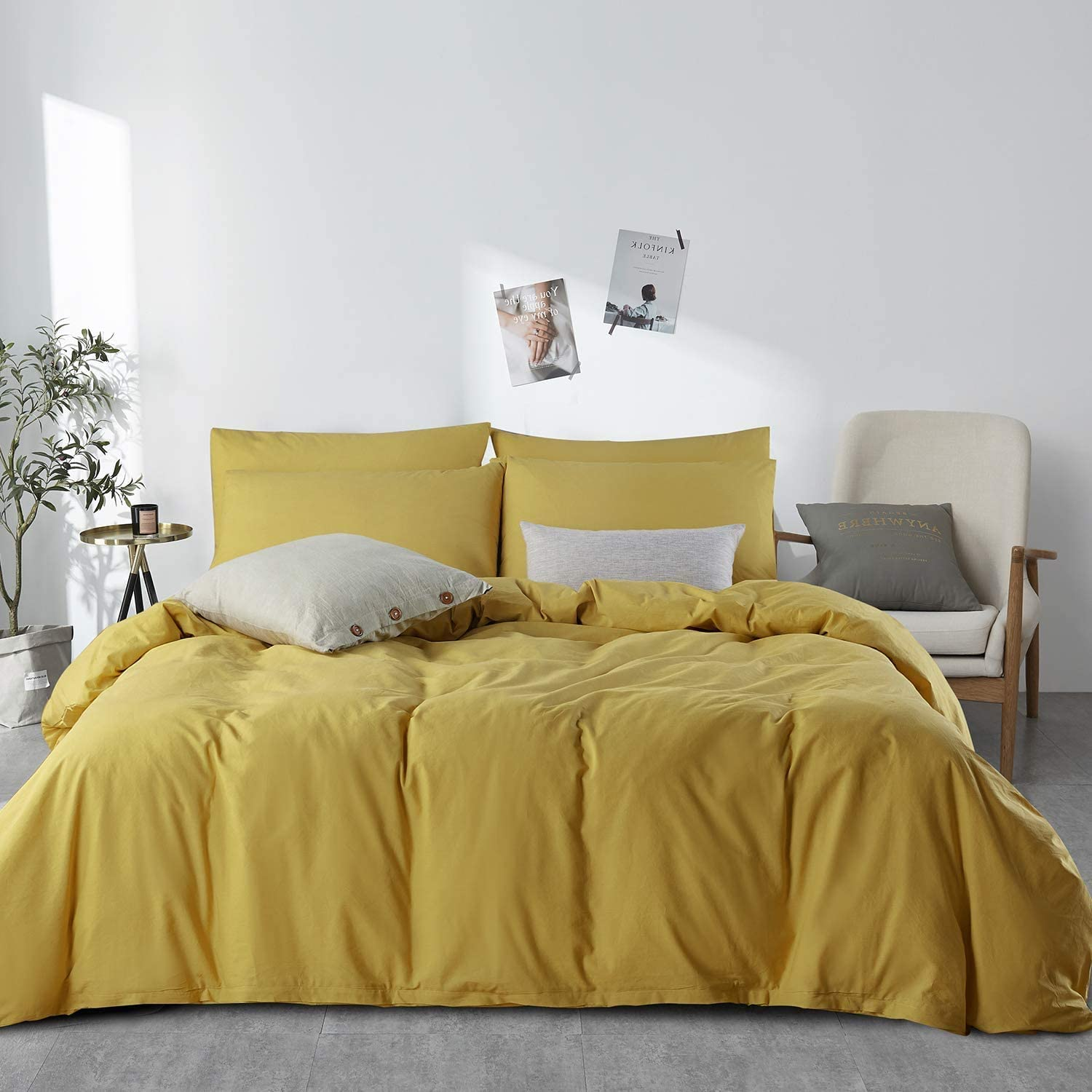 JELLYMONI Ginger 100% Washed Cotton Duvet Cover Set, 3 Pieces Ultra Soft Bedding Set with Zipper Closure. Solid Color Pattern Duvet Cover Queen Size(No Comforter)