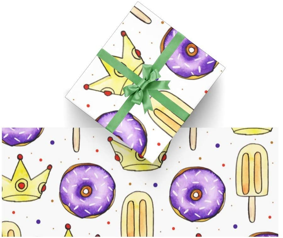 Wrapping Paper Watercolor Birthday Crown for Christmas,Birthday,Valentines Day,Bridal or Baby Showers Gift- 3Rolls - 58inch x 23inch Per Roll