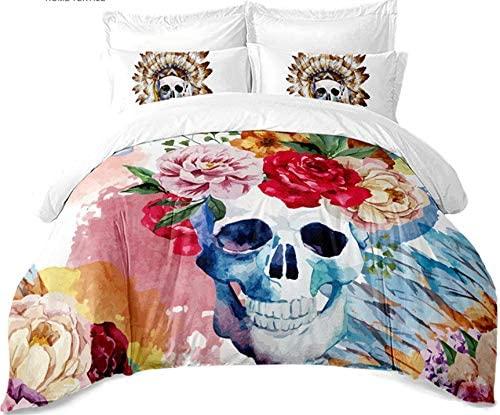 M/X Microfiber Bohemian Colorful Flowers Painted Duvet Cover Set of 4 Sugar Skull Bedding Set Tribal Bedding Pillowcase Home Decoration
