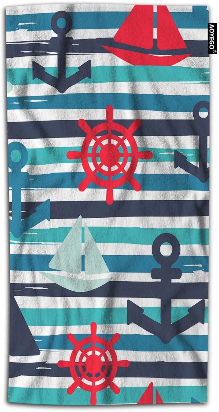 AOYEGO Nautical Bath Towel Sailboat Anchor Marine Wheel Ocean Regatta Sail Ship Wave Striped Bath Hand Towels Decorative 64X32 Inch Soft Polyester-Microfiber for Beach Bathroom Home