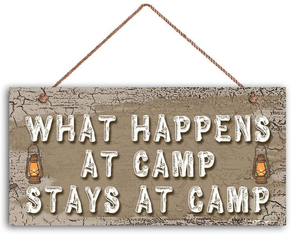 Camper Decor Camp Rules Sign Wood Sign Wall Art ,What Happens At Camp Stays At Camp Sign, 6 x 12 Sign(Z4027)