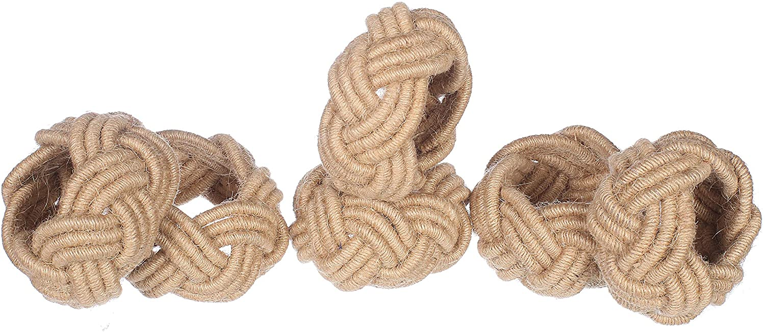 Alpha Living Home Nautical Coastal Jute Napkin Rings Set of 6, Beach Napkin Holders, Napkin Rings Bulk for Party Decoration, Dinning Table, Everyday, Family Gatherings - A Great Tabletop Décor