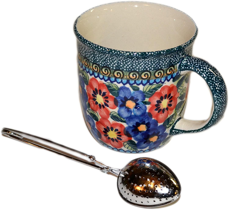 Polish Pottery Hand Painted 12 oz Mug with Tea Infuser - Gift Bundle