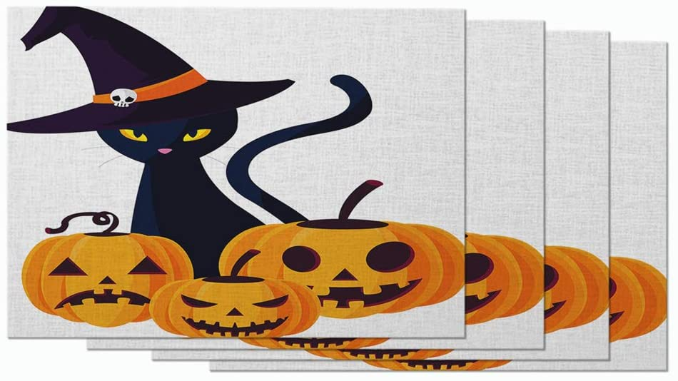 Moslion Halloween Pattern Placemats Fall Pumpkins Cat Witch Hat Funny Animal Table Placemats for Dinning Table Washable Cotton Linen 12x18 Inch, Set of 4
