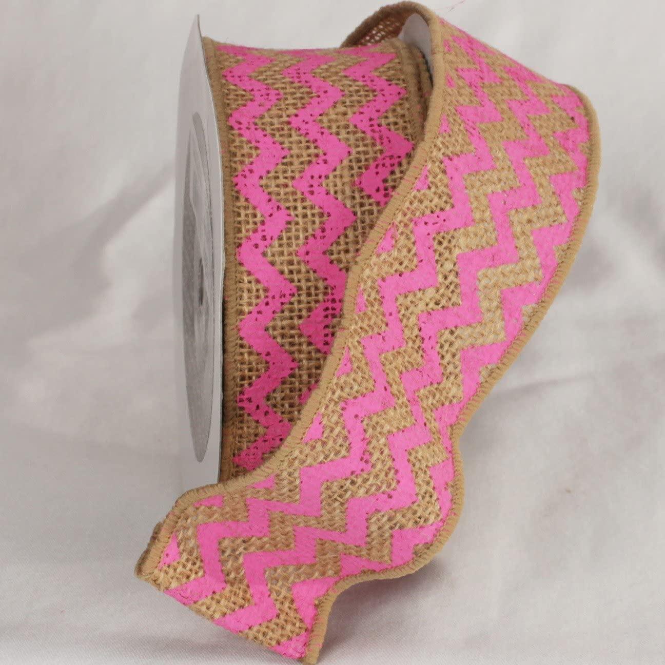 Pink Chevron Print Burlap Wired Craft Ribbon 2