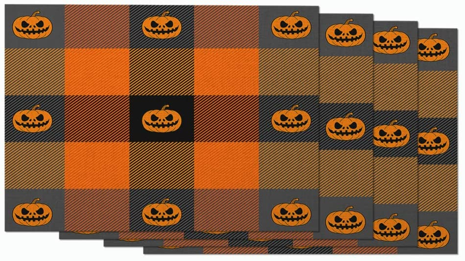 Moslion Fall Halloween Buffalo Placemats Orange and Black Plaid Check Tartan Pumpkins Pattern Table Placemats for Dinning Table Washable Cotton Linen 12x18 Inch, Set of 4