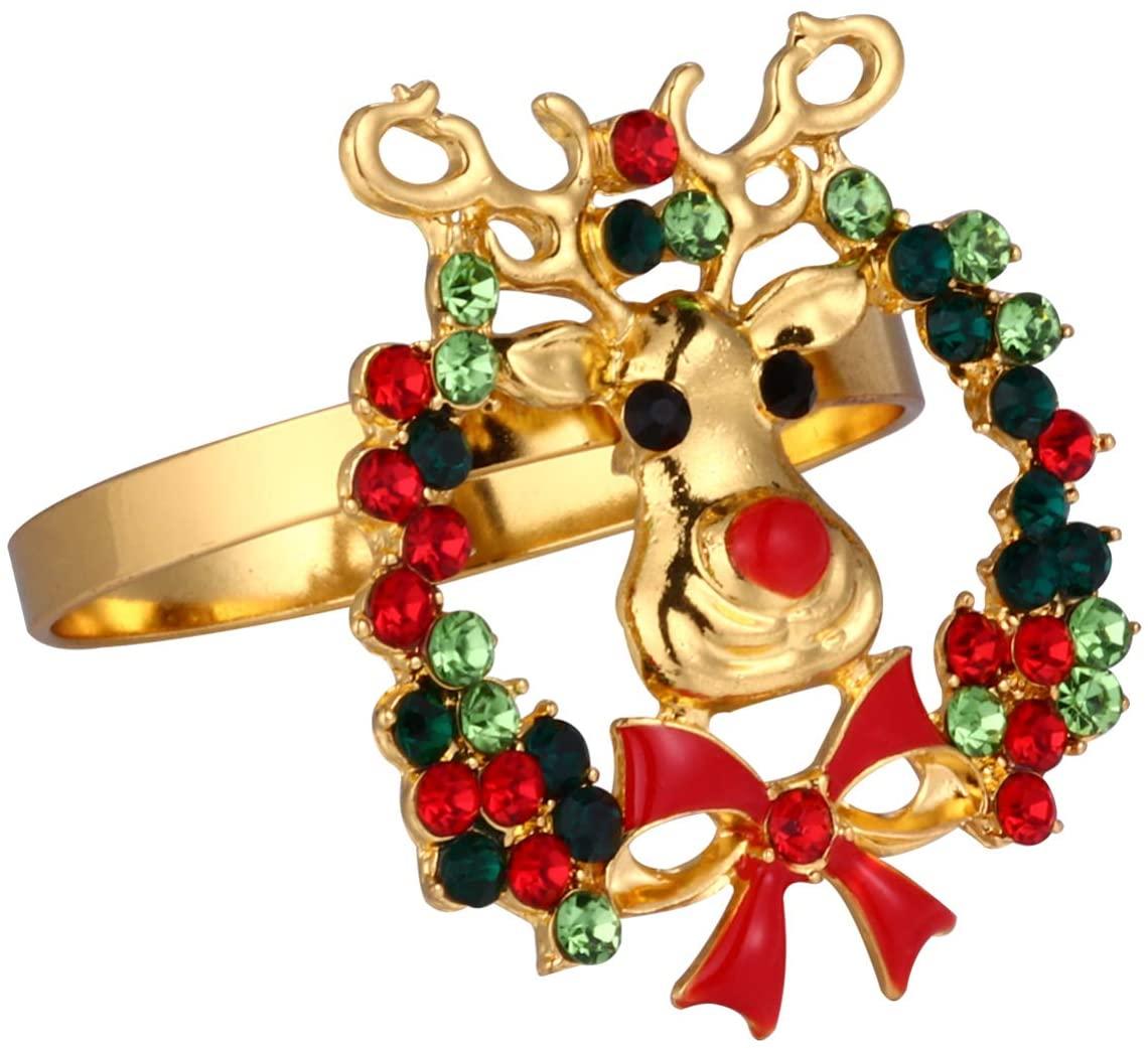 BESTOYARD Christmas Napkin Rings Deer Head Design Rhinestone Serviette Buckles Holder Napkin Clasp for Holiday Xmas Thanksgiving Home Table Decoration (Assorted Color)
