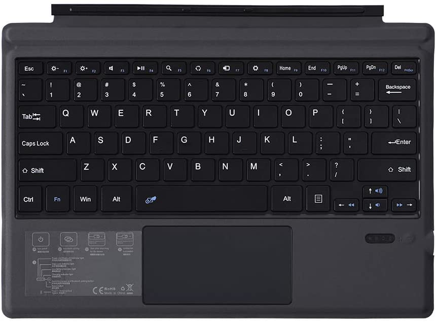 Pinhen Type Cover for Microsoft Surface Pro 7 / Pro 6 / Pro 5 / Pro 4 / Pro 3, Business Ultra Slim Portable Wireless Bluetooth Keyboard with Touch Pad and Built-in Rechargeable Battery,Black
