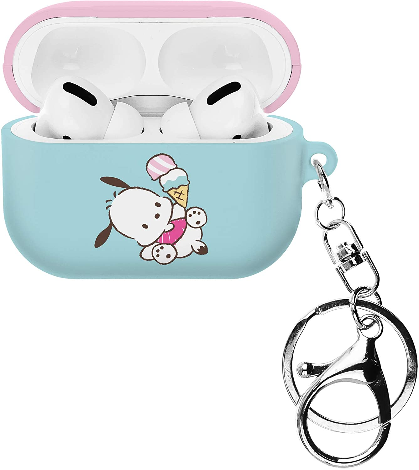 Sanrio AirPods Pro Case with Key Ring Keychain Key Holder Hard PC Shell Strap Hole Cover Compatible with Apple Airpods Pro - Pochacco Tilt