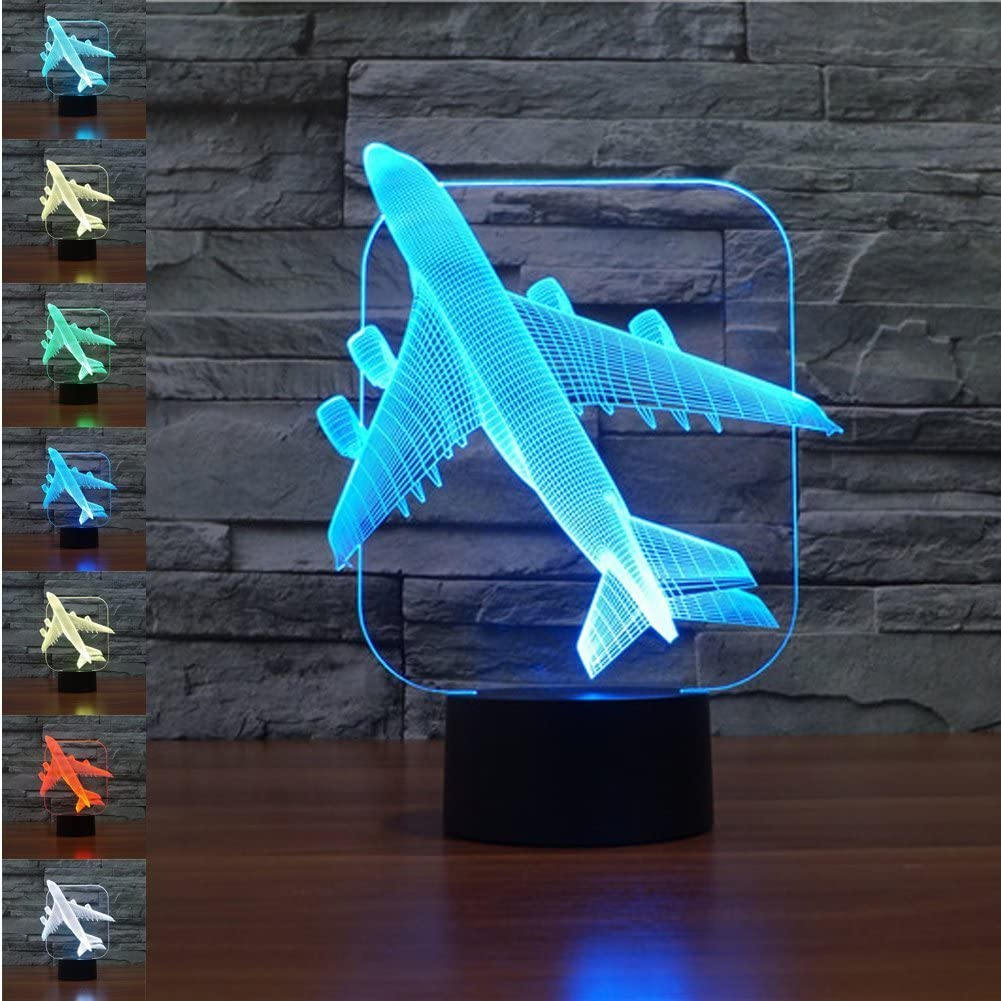 3D Airplane Plane Night Light 7 Color Change LED Table Desk Lamp Acrylic Flat ABS Base USB Charger Home Decoration Toy Brithday Xmas Kid Children Gift