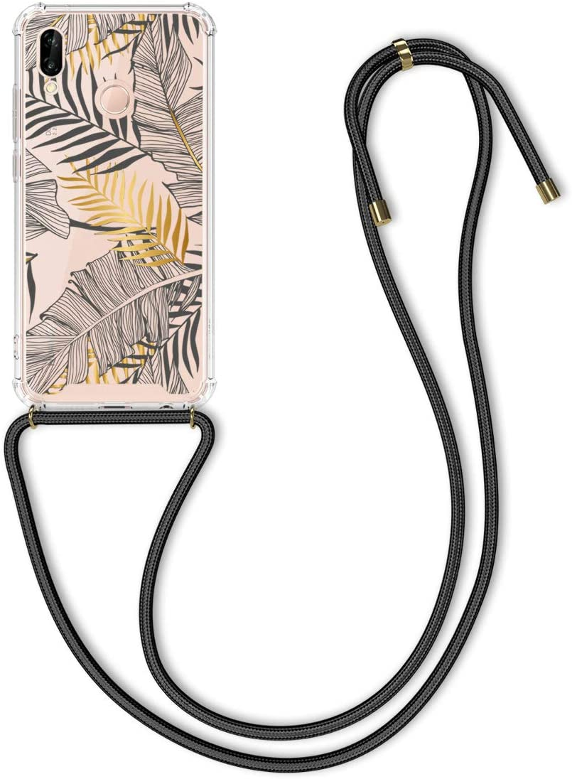 kwmobile Crossbody Case Compatible with Huawei P20 Lite - Clear TPU Cell Phone Mobile Cover Holder with Neck Cord Lanyard Strap - Palm Leaves Yellow/Grey/Transparent