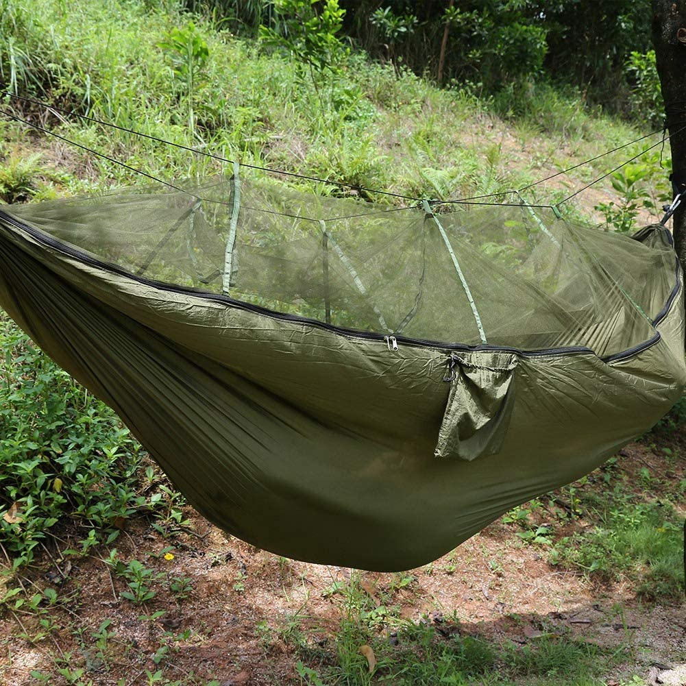 Gojiny Camping Hammock with Mosquito Net, Portable Double/Single Hammocks Lightweight Nylon Portable Hammock for Backpacking, Camping, Travel, Beach, Yard