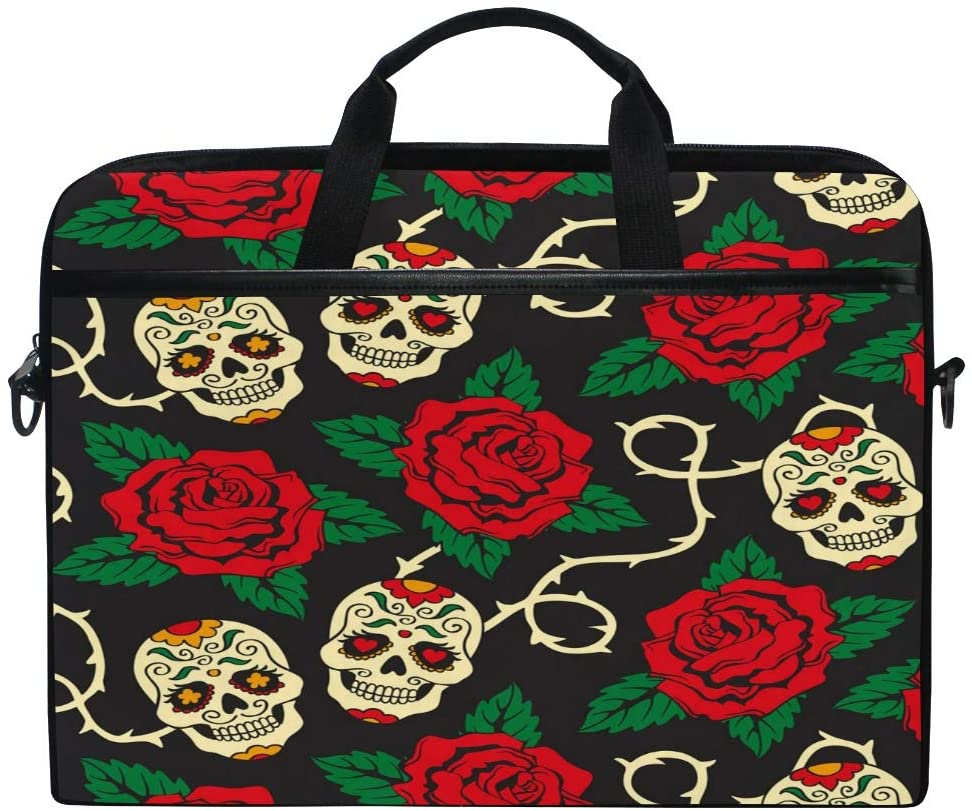 ALAZA Sugar Skulls with Rose Flower 15 inch Laptop Case Shoulder Bag Crossbody Briefcase for Women Men Girls Boys with Shoulder Strap Handle, Back to School Gifts