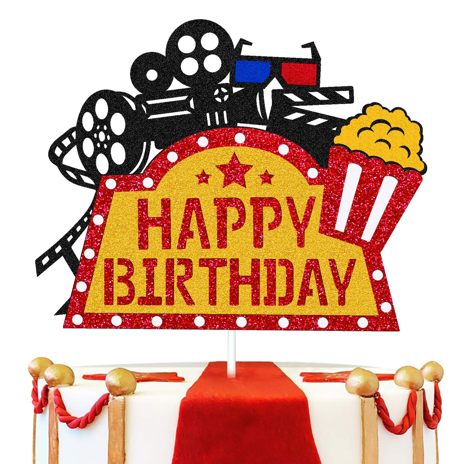 Movie Night Cake Topper Happy Birthday Sign Cake Decorations for Theater Video Recorder Hollywood Roll Camera Popcorn Family Film Themed Kids Boy Girl Birthday Party Supplies Glitter Black Décor