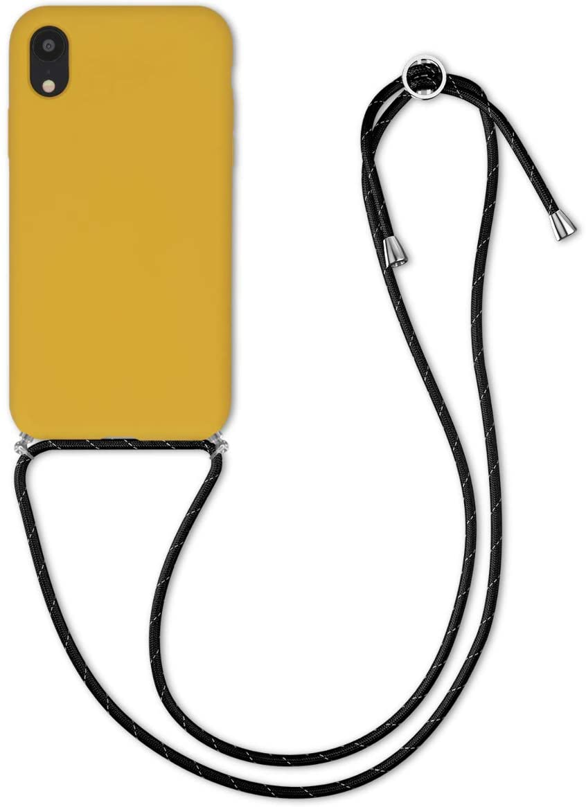 kwmobile Crossbody Case Compatible with Apple iPhone XR - TPU with Silicone Coating Cover with Neck Cord Lanyard Strap - Honey Yellow
